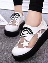 Scarpe Donna-Sneakers alla moda-Tempo libero / Casual-Comoda-Plateau-Finta pelle-Nero / Bianco
