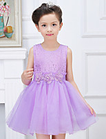 A-line Short/Mini Flower Girl Dress-Lace / Organza / Polyester Sleeveless