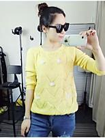 Women's Print Pink / Beige / Black / Yellow Pullover,Simple Long Sleeve