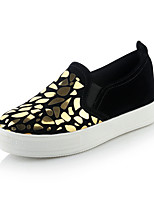 Women's Shoes Synthetic Flat Heel Round Toe Loafers Casual Black / White / Gold