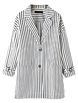 Women's Striped White Trench Coat,Simple Long Sleeve Cotton