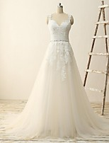 A-line Wedding Dress-Ivory Sweep/Brush Train V-neck Tulle
