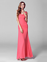 Ankle-length Tulle / Charmeuse Bridesmaid Dress-Watermelon Ball Gown V-neck