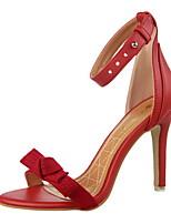 Women's Shoes Suede Stiletto Heel Heels / Pointed Toe / Open Toe Sandals Dress Black / Blue / Pink / Red / Gray / Almond