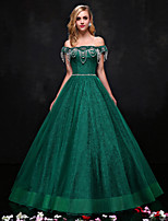 Formal Evening Dress-Dark Green A-line Strapless Floor-length Lace