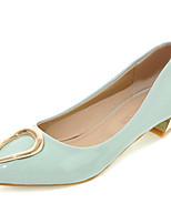 Women's Shoes Patent Leather Low Heel Basic Pump / Pointed Toe Heels Dress / Casual Blue / Gray / Burgundy