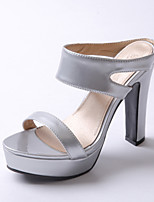 Women's Shoes Patent Leather Chunky Heel Heels / Peep Toe / Platform / Slippers Sandals Casual Green / Pink / Silver