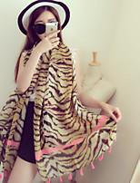Tiger Striped Cotton Twill Printed Scarves Hand-fringed Shawl Scarf Silk