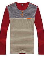 Men's Patchwork Casual T-Shirt,Polyester Long Sleeve-Blue / Red