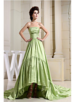 Formal Evening Dress-Sage A-line Strapless Asymmetrical Taffeta