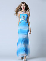 Formal Evening Dress-Ocean Blue Ball Gown Sweetheart Ankle-length Tulle / Stretch Satin