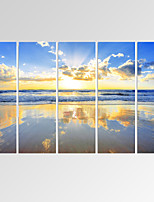 VISUAL STAR®Beautiful Seascape Canvas Print Gloden Beach Canvas Art Ready to Hang