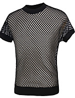 Men's Short Sleeve T-Shirt,Cotton Casual / Plus Sizes Color Block