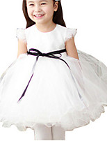 Girl's White Dress,Ruffle Polyester Summer / Spring