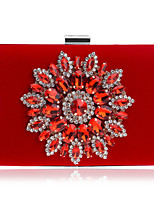 Women Evening Bag Polyester All Seasons Wedding Event/Party Formal Minaudiere Rhinestone Crystal Snap Red Black Blue