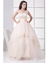A-line Wedding Dress-Champagne Floor-length Jewel Organza / Satin