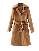 Women's Solid Brown Coat,Simple Long Sleeve Cotton