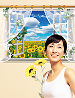 Fake Sunflower Landscape Wall Stickers Window Florals / Landscape / 3D Wall Stickers 3D Wall Stickers,PVC 90*60cm