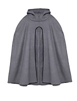 Women's Casual/Daily Simple Cloak/Capes,Solid Long Sleeve Black / Gray Wool