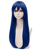 Top Quality Bule Color Synthetic Long Straight Cosplay Synthetic Wigs