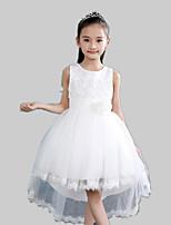 A-line Asymmetrical Flower Girl Dress-Satin / Tulle / Polyester Sleeveless