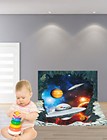 3D Wall Stickers Wall Decals Style Extraterrestrial Spacecraft Waterproof Removable PVC Wall Stickers