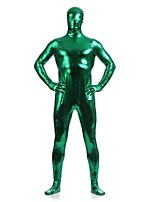 Unisex Shiny Zentai Suits Spandex / Shiny Metallic Green Zentai