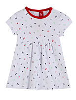 Girl's White Dress,Print Cotton Summer / Spring