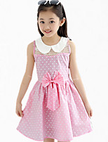 Girl's Blue / Pink Dress,Dot Cotton Summer