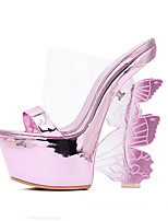 Women's Shoes Patent Leather Wedge Heel Open Toe Sandals Dress Black / Pink / Silver