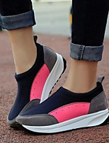 Women's Shoes Suede Split Joint Wedge Heel Comfort Loafers Outdoor / Athletic / Casual Black / Pink