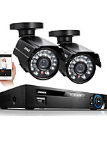 Annke® 4CH 960H HDMI DVR 2PCS 800TVL IR Outdoor Weatherproof CCTV Camera 24 LEDs Home Security System Surveillance Kits