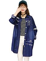 Women's Floral Blue Denim Jackets,Simple Long Sleeve Cotton