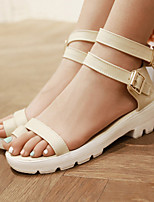 Scarpe Donna-Sandali-Casual / Formale-Aperta / Toe ring-Basso-Finta pelle-Nero / Blu / Giallo / Beige