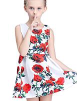 Vestido Chica de-Verano-Algodón / Poliéster-Blanco