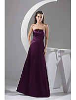 Formal Evening Dress A-line Strapless Floor-length Charmeuse