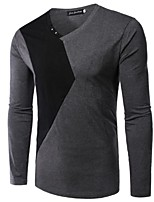 Men's Long Sleeve T-Shirt,Rayon Casual Patchwork