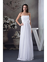 Formal Evening Dress-Ivory Sheath/Column Strapless Floor-length Chiffon