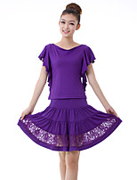 Latin Dance Outfits Women's Training Lace / Milk Fiber Lace / Pleated 2 Pieces Purple / Red Latin Dance Short Sleeve Natural