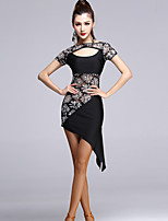 Latin Dance Dresses Women's Performance Viscose Draped 1 Piece Black Latin Dance
