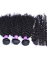 Malaysian Kinky Curly Virgin Hair With Closure 4pcs/Lot 5A Human Hair Extensions Top Quality