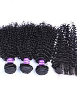 virginal del pelo rizado rizado malasio con cierre 4pcs / porción 5a extensiones de cabello humano de calidad superior