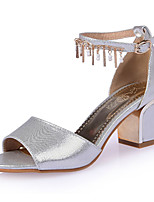 Women's Shoes Chunky Heels/Sling back/Open Toe Chain Sandals Party & Evening/Dress Black/Silver/Gold