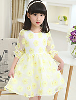Girl's Spring Long Sleeve Floral Dresses