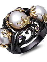 Special Women Pearl Rings Black & Gold Plated Fresh Water Pearl Amethyst Cubic Zircon Setting Unique Fashion Ring