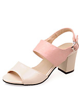 Women's Shoes Patent Leather Chunky Heel Heels / Peep Toe Sandals Wedding / Casual Black / Pink / Beige
