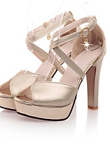 Women's Shoes Leatherette Stiletto Heel Heels Sandals Wedding / Office & Career /  Dress Silver / Gold / Almond