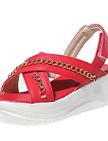 Women's Shoes Wedge Heel Wedges / Peep Toe Sandals Party & Evening / Dress / Casual Black / Pink / Red / White