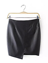 Women's Solid Black Skirts,Street chic Above Knee