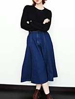 Women's Solid Blue Skirts , Casual / Day Midi